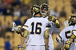 29 April 2016: Notre Dame's Sergio Perkovic (16) celebrates his goal with Brendan Collins (behind). The University of Notre Dame Fighting Irish played the Duke University Blue Devils at Fifth Third Bank Stadium in Kennesaw, Georgia in a 2016 Atlantic Coast Conference Men's Lacrosse Tournament semifinal match. Duke won the game 10-9 in overtime.