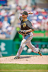 25 July 2013: Pittsburgh Pirates pitcher A.J. Burnett on the mound against the Washington Nationals at Nationals Park in Washington, DC. The Nationals salvaged the last game of their series, winning 9-7 ending their 6-game losing streak. Mandatory Credit: Ed Wolfstein Photo *** RAW (NEF) Image File Available ***