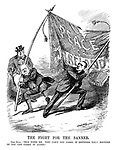 """The Fight for the Banner. John Bull. """"This tires me. Why can't you carry it between you? Neither of you can carry it alone."""""""
