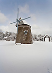 Higgins Farm Mill on a  snowy day at Brewster's Drummer Boy Park.