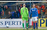 St Johnstone v Dundee United...11.02.12.. SPL.A frustrated Dave Mackay after his mix up with the Peter Enckelman led to Milos Lacny's goal.Picture by Graeme Hart..Copyright Perthshire Picture Agency.Tel: 01738 623350  Mobile: 07990 594431