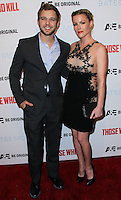 """HOLLYWOOD, LOS ANGELES, CA, USA - FEBRUARY 26: Max Thieriot, Kathleen Robertson at the Premiere Party For A&E's Season 2 Of """"Bates Motel"""" & Series Premiere Of """"Those Who Kill"""" held at Warwick on February 26, 2014 in Hollywood, Los Angeles, California, United States. (Photo by Xavier Collin/Celebrity Monitor)"""