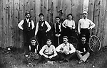 Waterbury Watch Co./New England Watch Factory boasted one of the top amateur baseball clubs in Waterbury in 1892. Members of this 1892 club include, seated left to right: Leo Hen, Miron Kennedy, Sig Klobedanz, John Holmes and unidentified. Standing are: Bill Claxton, J. Culhan, unidentified, and Jack MacKeever. Klobedanz and MacKeever were outstanding in local amateur sports for years.
