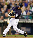Seattle Mariners'  Casey Kotchman bats against the Baltimore Orioles at SAFECO Field in Seattle April 19, 2010. The  Mariners beat the Orioles 8-2. Jim Bryant Photo. ©2010. ALL RIGHTS RESERVED.