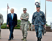 Secretary of Defense Chuck Hagel, left, walks with Strategic Command commander General C. Robert Kehler, center, and Strategic Command Deputy Commander Vice Admiral Tim Giardina, right, at Offutt Air Force Base, Nebraska, June 20, 2013. Hagel met with senior leadership, received command briefs and visited with troops and civilians thanking them for their service. On Saturday, September 28, 2013 it was announced Giardina has been suspended and is under investigation by the Naval Criminal Investigation Service for issues related to gambling.  <br /> Mandatory Credit: Erin A. Kirk-Cuomo / DoD via CNP