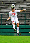 12 September 2010: Cornell University Big Red forward Daniel Haber, a Freshman from Toronto, Ontario, heads the ball against the University of Vermont Catamounts at Centennial Field in Burlington, Vermont. The Catamounts edged out the Big Red 2-1. Mandatory Credit: Ed Wolfstein Photo