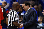 15 November 2014: Duke head coach Mike Krzyzewski (right) with referee Clarence Armstrong (left). The Duke University Blue Devils hosted the Fairfield University Stags at Cameron Indoor Stadium in Durham, North Carolina in an NCAA Men's Basketball exhibition game. Duke won the game 109-59.