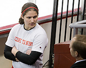 Kerrin Sperry (BU - 1), Brian Durocher (BU - Head Coach) - The Harvard University Crimson defeated the Northeastern University Huskies 4-3 (SO) in the opening round of the Beanpot on Tuesday, February 8, 2011, at Conte Forum in Chestnut Hill, Massachusetts.