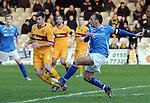Motherwell v St Johnstone...28.01.12  .Jody Morris scores for saints.Picture by Graeme Hart..Copyright Perthshire Picture Agency.Tel: 01738 623350  Mobile: 07990 594431