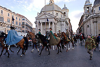 Roma 17 Febbraio 2015<br /> Carnevale Romano, in  Piazza del Popolo,  dedicato alla Regina Cristina di Svezia che soggiorno a Roma nel 1655,  con le atmosfere  della Roma barocca, con sbandieratori, tamburini e gruppi storici. VIII Reggimento Lancieri di Montebello<br /> Rome February 17, 2015<br /> Roman Carnival, in Piazza del Popolo, dedicated to Queen Christina of Sweden who stay in Rome in 1655, with the atmosphere of Baroque Rome, with flag-wavers, drummers and historical groups. VIII Lancers Regiment of Montebello