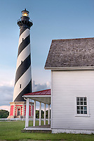 Cape Hatteras Lighthouse on Hatteras Island. This iconic spiral  lighthouse is still in use today.