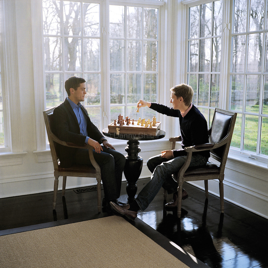 Chris Hughes and Sean Eldridge pose for a portrait at their home in Garrison, NY. Hughes is a Facebook founder, Obama confidante and now the owner of The New Republic. Eldridge is a venture capitalist and the political director of Freedom to Marry.