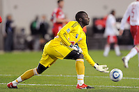 New York Red Bulls goalkeeper Bouna Coundoul (18) clears a ball during the first half of a Major League Soccer match between the New York Red Bulls and the Chicago Fire at Red Bull Arena in Harrison, NJ, on March 27, 2010. The Red Bulls defeated the Fire 1-0.
