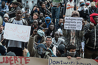 Refugees and migrants from the jungle camp in Calais stage a march ending in a protest at the town hall demanding freedom of movement and human rights. 5-9-15