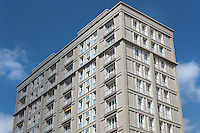 Apartment block at Porte Oceane, completed 1956, designed by Auguste Perret, 1874-1954, who led the reconstruction of Le Havre in the 1950s, after the town was completely destroyed in WWII, Le Havre, Normandy, France. This monumental complex consists of 6-storey buildings and 2 13-storey towers, symbolising the entrance gates to the city. The centre of Le Havre is listed as a UNESCO World Heritage Site. Picture by Manuel Cohen