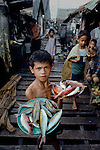 PHILIPPINES-10007NF, Philippines, 08/1985. Bajau people in the muslim area of Rio Hondo, Zamboanga, Philippines.