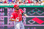 21 June 2015: Washington Nationals starting pitcher Gio Gonzalez gets to second after hitting an RBI double in the first inning against the Pittsburgh Pirates at Nationals Park in Washington, DC. The Nationals defeated the Pirates 9-2 to sweep their 3-game weekend series, and improve their record to 37-33. Mandatory Credit: Ed Wolfstein Photo *** RAW (NEF) Image File Available ***