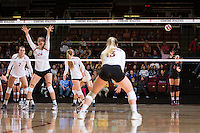 STANFORD, CA - October 15, 2016: Morgan Hentz at Maples Pavilion. The Cardinal defeated the Arizona State Sun Devils 3-1.