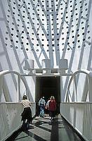 San Francisco:  San Francisco Museum of Modern Art--bridge under great ocula. Mario Botta.
