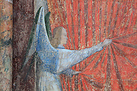Fresco of an angel holding a curtain, from the funerary monument of Ferry de Beauvoir, died 1473, Catholic prelate and 64th bishop of Amiens 1457-73, in the South side of the choir, at the Basilique Cathedrale Notre-Dame d'Amiens or Cathedral Basilica of Our Lady of Amiens, built 1220-70 in Gothic style, Amiens, Picardy, France. Amiens Cathedral was listed as a UNESCO World Heritage Site in 1981. Picture by Manuel Cohen