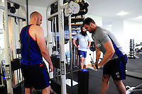 Elliott Stooke of Bath Rugby in the gym. Bath Rugby pre-season training on June 21, 2016 at Farleigh House in Bath, England. Photo by: Patrick Khachfe / Onside Images