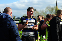 Charlie Ewels of Bath Rugby acknowledges the crowd after the match. Aviva Premiership match, between Bath Rugby and Sale Sharks on April 23, 2016 at the Recreation Ground in Bath, England. Photo by: Alexander Davidson / JMP for Onside Images