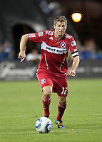 Logan Pause dribbles the ball. The Chicago Fire defeated the San Jose Earthquakes 3-0 at Buck Shaw Stadium in Santa Clara, California on September 29th, 2010.