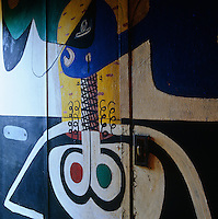 A mural by Le Corbusier covers a wall in the entrance hall - the door leads to the former Etoile de Mer restaurant where Le Corbusier ate all his meals