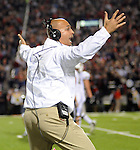 Vanderbilt Coach James Franklin reacts to a call against Mississippi at Vaught-Hemingway Stadium in Oxford, Miss. on Saturday, November 10, 2012. (AP Photo/Oxford Eagle, Bruce Newman)