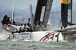 BAR helmed by Ben Ainslie finishing the second fleet race of the  America's Cup World Series, San Francisco. 23/8/2012
