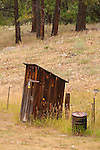 Wooden outhouse by the railyard, Rockwood, Colo.