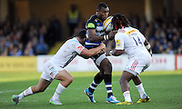 Semesa Rokoduguni of Bath Rugby is tackled. Aviva Premiership match, between Bath Rugby and Harlequins on October 31, 2015 at the Recreation Ground in Bath, England. Photo by: Alex Davidson / JMP for Onside Images