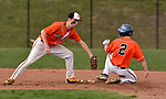 PLYMOUTH, CT-042017JS05- Watertown's Steven Phillips  (2) slides safely into second in front of a tag by Terryville's Riley Zappone (6) during their game Thursday at Terryville High School in Plymouth. <br /> Jim Shannon Republican-American