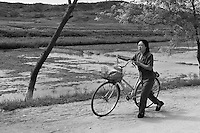A woman pushes a bicycle past flood-damaged rice fields during a visit by national and international Red Cross officials to Pongchon county, DPRK on Saturday August 27 2011. Consecutive floods caused by heavy rainfall and strong winds, together with the impact of typhoon Muifa which struck in early August, resulted in the destruction or severe damage of over 9,500 houses, rendering more than 25,000 people homeless between June 23 and August 9, according to data provided by the DPRK government. While flood damage was reported throughout the country, south and north Hwanghae provinces have been worst hit by the repeated flooding, leaving an already vulnerable population in a critical condition.  Photo by Morten Hvaal/Felix Features for IFRC.