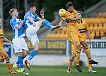 St Johnstone U20 v Motherwell U20&hellip;03.10.16.. McDiarmid Park   SPFL Development League<br />Graham Cummins shot is blocked by Barry McGuire<br />Picture by Graeme Hart.<br />Copyright Perthshire Picture Agency<br />Tel: 01738 623350  Mobile: 07990 594431