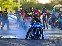 Jul 8, 2016; Joliet, IL, USA; NHRA pro stock motorcycle rider Jim Underdahl during qualifying for the Route 66 Nationals at Route 66 Raceway. Mandatory Credit: Mark J. Rebilas-USA TODAY Sports
