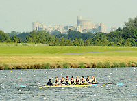 Eton,  GREAT BRITAIN.  Championship Eights, [Ch8+] Semi Finals left Latymer School, race up the course with Windsor Castle in the background,   at the Eton Schools' Regatta, Eton Rowing Centre, Dorney Lake. [Finish of cancelled National Schools Regatta], Saturday, 07/06/2008  [Mandatory Credit:  Peter SPURRIER / Intersport Images] Rowing Courses, Dorney Lake, Eton. ENGLAND