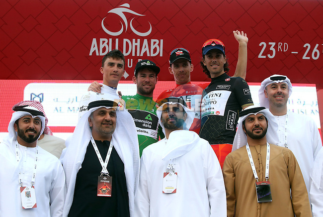 The podium at the end of Stage 3 Al Maryah Island Stage of the 2017 Abu Dhabi Tour, starting at Al Ain and running 186km to the mountain top finish at Jebel Hafeet, Abu Dhabi. 25th February 2017<br /> Picture: ANSA/Matteo Bazzi | Newsfile<br /> <br /> <br /> All photos usage must carry mandatory copyright credit (&copy; Newsfile | ANSA)