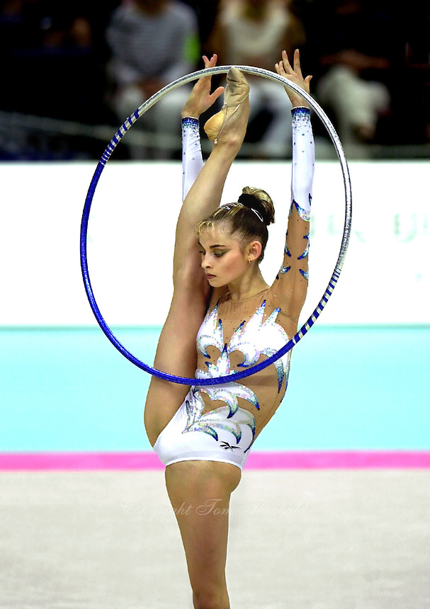 02 OCTOBER 1999 - OSAKA, JAPAN: Yulia Barsoukova of performs with hoop at the 1999 World Championships in Osaka, Japan. Yulia took the Bronze medal in the individual all around and went onto become Olympic champion at Sydney 2000.