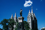Utah, Salt Lake City, Brigham Young sculpture at Temple Square..Photo # utsalt601.  Photo copyright Lee Foster.  .