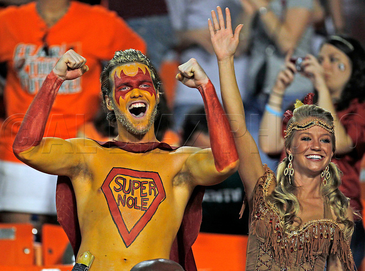 Seminole fans celebrate in the fourth quarter on their win over the University of Miami on Saturday October 9, 2010.