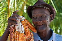 Farmer with a crop of corn.
