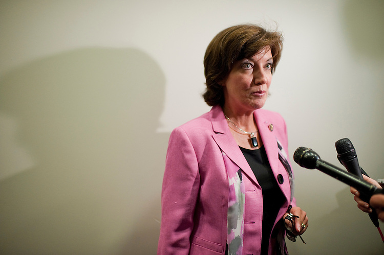 UNITED STATES - SEPTEMBER 14:  Rep. Kathy Hochul, D-N.Y.,  arrives for a meeting of the House Democratic Caucus in the Capitol Visitor Center.  Many reporters asked members about the special election in New York in which republican Bob Turner prevailed.  (Photo By Tom Williams/Roll Call)