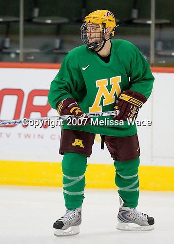 Evan Kaufmann (Minnesota 19) takes part in the Gophers' morning skate at the Xcel Energy Center in St. Paul, Minnesota, on Friday, October 12, 2007, during the Ice Breaker Invitational.