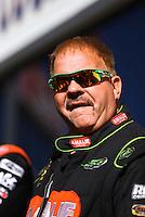 Nov 13, 2016; Pomona, CA, USA; NHRA top fuel driver Terry McMillen during the Auto Club Finals at Auto Club Raceway at Pomona. Mandatory Credit: Mark J. Rebilas-USA TODAY Sports
