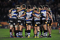 The Bath United team huddle together at half-time. Aviva A-League match, between Bath United and Bristol United on December 28, 2015 at the Recreation Ground in Bath, England. Photo by: Patrick Khachfe / Onside Images
