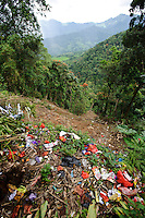Rubbish and plastic waste dumped into a valley, Malino, Sulawesi, Indonesia.