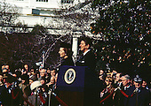 Washington, DC - (FILE) -- United States President Ronald Reagan welcomes Prime Minister Margaret Thatcher of Great Britain for her first official visit of his presidency on the South Lawn of the White House in Washington, D.C. on Thursday, February 26, 1981..Credit: Benjamin E. &quot;Gene&quot; Forte - CNP