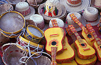 Straw hats, guitars, drums and other handicrafts for sale in Leon, Nicaragua