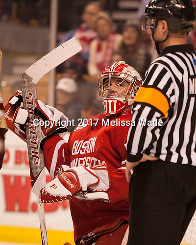 Jake Oettinger (BU - 29), Geoffrey Miller - The Boston University Terriers defeated the Boston College Eagles 3-1 in their opening Beanpot game on Monday, February 6, 2017, at TD Garden in Boston, Massachusetts.